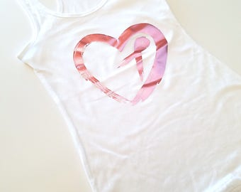 Distressed Pink Heart With Ribbon Racerback Tank Top, Breast Cancer Awareness Tank Top, Pink Ribbon Tank, Breast Cancer Tee, Rose Gold Heart