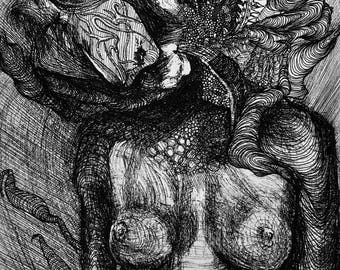 Desnudo, Pen and Ink Print