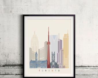 Toronto skyline poster - Fine Art Print Landmarks skyline Poster Gift Illustration Artistic Colorful Landmarks - SKU 2809