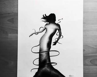 "ORIGINAL 1/3 Serie ""...Laisse toi aller"" - Dance music illustration"