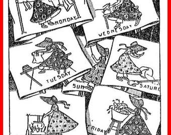 Transfer Pattern PDF Alice Brooks 5522 Sunbonnet Girls Embroidery Applique DOW Transfer Pattern Day of Week