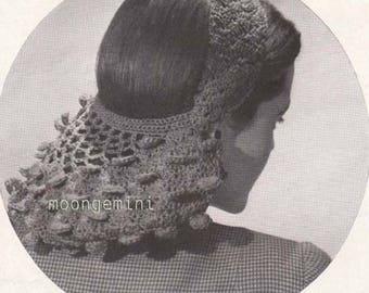 Petal Snood Vintage Crochet Pattern PDF Crocheted Hair Net Hairnet