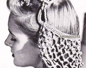 Beaded Snood Crochet Hat Hairnet Hair Net Vintage Pattern PDF