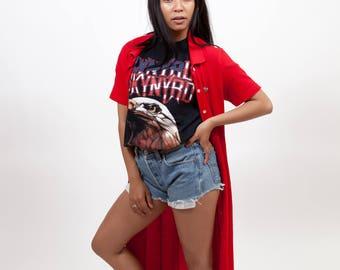 Red ankle long Lacoste dress / Nineties dress / Button up dress / Sporty dress / Vintage summer dress / T-shirt dress / Size S