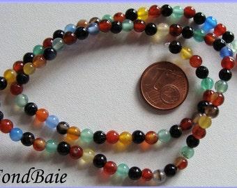 Fil environ 90 perles pierre rondes 4mm mix couleurs PIER15 DIY création bijoux