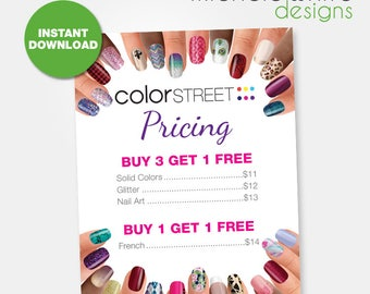 """8.5""""x11"""" Color Street Pricing Flyer/Poster - Instant Download"""