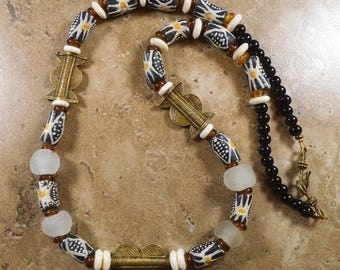 Black and white Krobo bead necklace with bone spacers and recycled frosted glass and black glass - AN269