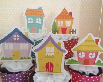 Cute Houses, New Home, Welcome to the Neighborhood Party cupcake Topper Decorations - Set of 10