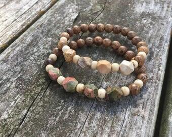 Gemstone Nugget Wooden Bracelet, Wood Stretch Bracelet, Unaklite Nugget Bracelet, Picture Jasper Nugget Bracelet, Bone Bracelet