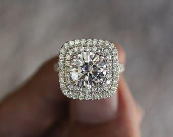 2.50 Carat (8.5mm) Forever ONE Moissanite Engagement Split Ring 14k White Gold Diamond Engagement Ring, Diamond Halo, Forever ONE Moissanite