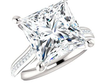 6 Carat Princess NEO Moissanite & Diamond Channel Engagement Ring, Princess Cut Rings, 10mm Princess Moissanite Rings, Anniversary Gifts