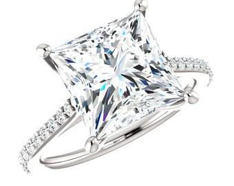 4.30 Carat Princess-Cut NEO Moissanite & Diamond Cathedral Engagement Ring, Moissanite Rings, Custom Jewelry, Handmade Rings, 9mm