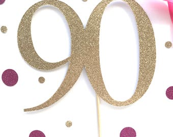 90 cake topper - Age Cake Topper - Birthday Party - Ninety