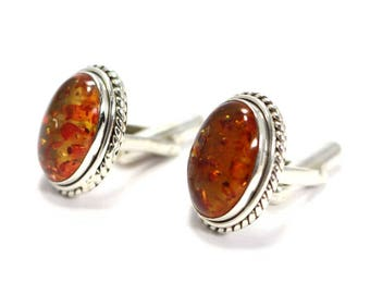 Handmade Amber 925 Sterling Silver Mens Cufflinks Jewelery  by Amore India C337