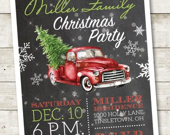 Retro Christmas Party Invitation, Retro Christmas Invitation, Christmas Open House Invitation, Christmas Party Invite, Holiday Party Invite