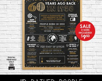 Back in 1958 Sign - 1958 Events - 60th Birthday Chalkboard Sign - Instant Download - 8x10 11x14 16x20 - Gold Confetti - 1958 Birthday