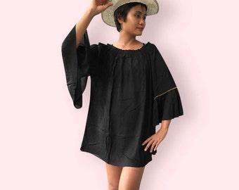 Black ruffle beaded beach dress, BW04 black, beach dress, holiday, maternity wear, lounge wear, poolside party wear, party dress, fun dress