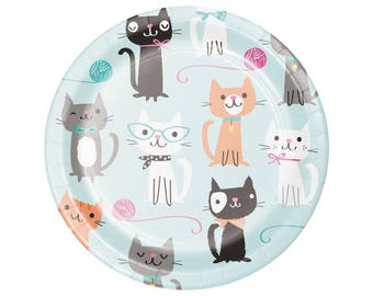 Kitty Cat Party Plates - Cat Birthday - Kitty Baby Shower - Meow Birthday - Kitten Birthday - Kitty Birthday - Cat Party Supplies - Cats