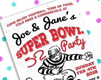 Super Bowl 52 Party ~ LII Football ~ 5x7 Invite ~ 8.5x11 Flyer ~ 11x14 Poster ~ 300 dpi Digital Invitation