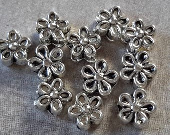 7 mm, 20 pcs, flower spacer beads, silver - Metal beads 7 x 7 mm