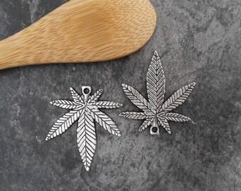 Large pendant leaf hemp, silver Metal cannabis sativa leaf 25 x 22 mm