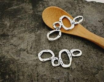 Teardrop pendants, connectors, Teardrop, ethnic boho silver 37 x 16 mm