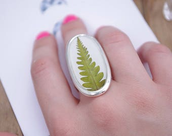 Fern ring for girlfriend Resin ring Real flower ring gift for her gift for christmas floral jewelry botanical jewellery pressed flower ring