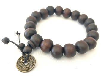 Buddha Bead Bracelet, Wood Bead Bracelet, Wood Beaded Bracelet, Mens Beaded Bracelet, Buddha Bracelet, Mens Bracelet, Brown Mens Bracelet