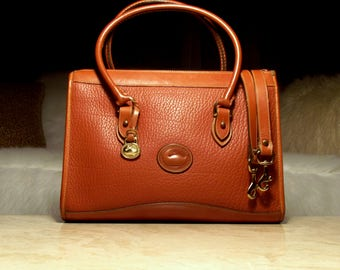 Now Available! BIG Gorgeous Dooney & Bourke AWL All British Tan Shoulder Satchel Crossbody Handbag Purse: Chic, Clean, Almost Mint