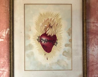 Vintage Sacred Heart Painting - Artist Unknown - Heart - Sacred Heart
