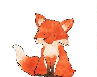 Fox Nursery Art Print, Woodland Animals Illustration