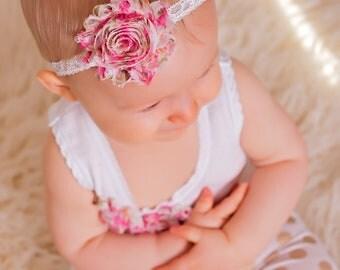 Newborn headband.Baby girl headband.Lace Headband.Flower headband
