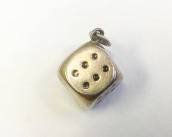 Vintage, Danish silver, die or dice charm.