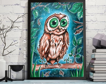 "Poster ""Blue Owl"", absurd art print, owl, blue, animal drawing, illustration, owl painting, watercolor illustration, colored pencils"