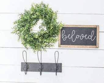 BELOVED |  Fixer Upper Decor, Farmhouse Signs, Farmhouse Sign Decor, Modern Farmhouse, Fixer Upper Style, Framed Wood Sign