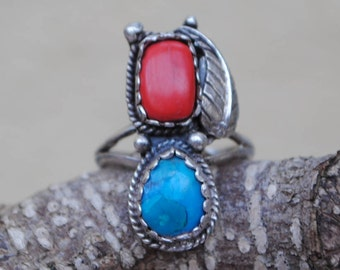 Turquoise and coral vintage ring silver, vintage turquoise ring, native american ring, coral and turquoise ring, vintage coral ring