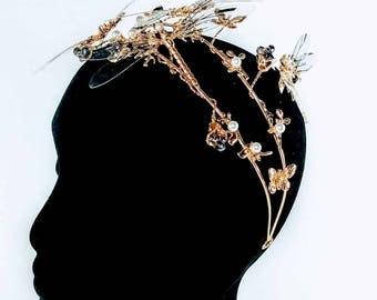 Gold & Pearl Dragonfly Statement Headband