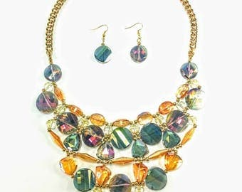 Willow - Multicoloured & Gold Statement Necklace
