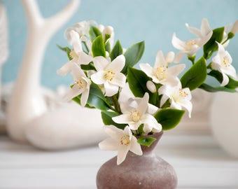 Fleurs Du0027oranger White Flower Arrangement Orange Tree Blossom Polymer Clay Flower  Decoration Romantic Flowers
