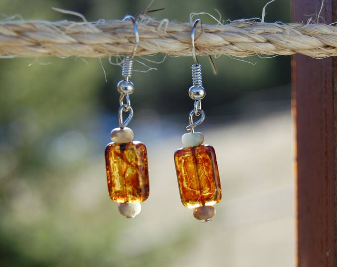 Amber Czech Glass Beaded Earrings