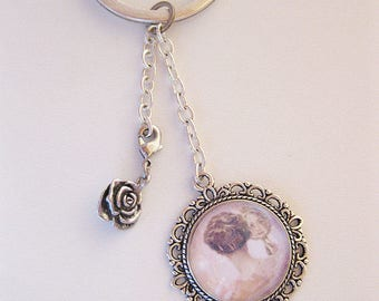 Keychains - cabochon pendant with a romantic image of women, gifts, women, Cabochon