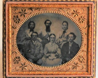 Antique Ambrotype of Family of 6, Horizontal Photo with Fancy Floral Mat & Preserver, 1/6th Plate, Photograph 1860's