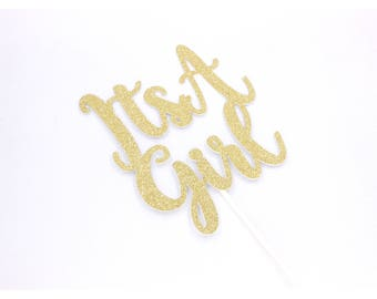 ITS A GIRL Cake Topper, Custom Color Cake Topper, Baby Shower Cake Topper, Pink And Gold Cake Topper, Baby Girl Cake Topper