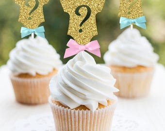 Gender Reveal Cupcake Toppers, Body Suit Question Mark Cupcake Toppers, Gold  Light Pink Blue, Baby Shower