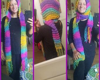 Hooded Scarf- Rainbow