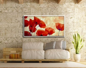 Extra Large Art, Flower Painting, Huge Painting, Extra Large Canvas, Extra Large Canvas Art painting, paintings, Red Painting, Red Artwork