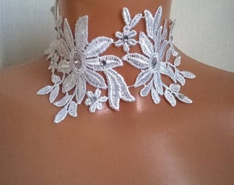 Necklace lace bridal wedding lace white rhinestone silver ceremonial holiday party crew neck