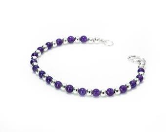 Amethyst Bracelet | Sterling Silver Ball Bracelet | February Birthstone Bracelet| Amethyst Jewelry |  925 Sterling Silver Gemstone Bracelet