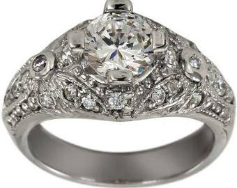 Art Deco Jewelry 1 Carat Diamond Engagement Ring With Milgrain and Pave Diamonds
