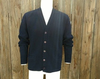 Vintage 70's 80's Cardigan Sweater Navy Blue San Francisco Knitting Mills L XL